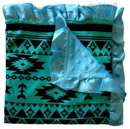 Soft and Cozy Large Minky blanket - Turquoise Aztec