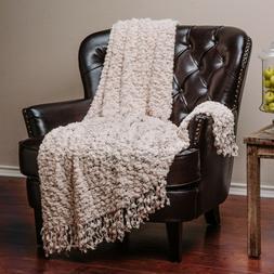 Chanasya Soft Decorative Popcorn Texture Throw Blanket w/ Ba