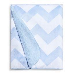 New Soft Fleece Embossed Baby Blanket light blue Chevron