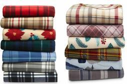 "Essential Home Soft Fleece Throw Blanket 60"" X 50""  Warm Pla"