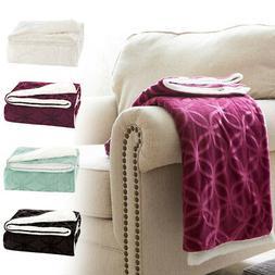 VVfamily Soft Fluffy Microfiber Fleece Sherpa Plush Throw Bl