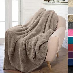 Soft Fuzzy Warm Cozy Throw Blanket with Fluffy Sherpa Fleece