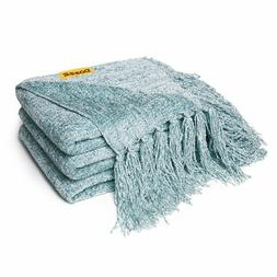 Soft Knitted Chenille Throw Blanket Fringe Cover Bed Couch S