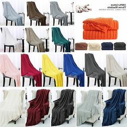 Soft Knitted Throw Blanket Cable Textured Solid Warm Sofa Co