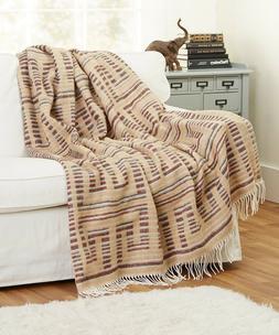 "Soft NEW Wool Blend Throw Blanket with fringe 55x79"", Beig"