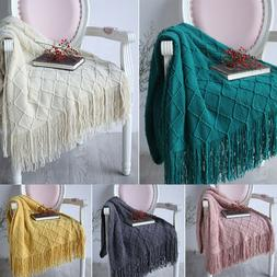Soft Plaids Knitted Throw Blanket Warm Knit Textured Solid f