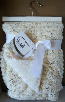 Born Loved Soft Plush Baby Blanket , IVORY ,GOLD AND WHITE ,