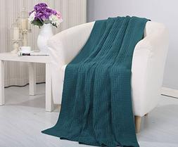 Soft Touch Classic Woven Knitted Throw Blanket  - Teal