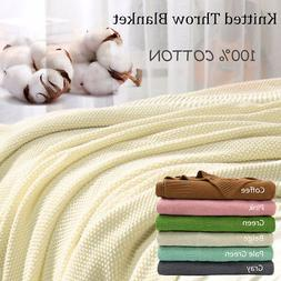 Soft Warm 100% Cotton Solid Decorative Knitted Throw Blanket