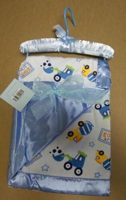 Solid Blue and Trucks Play Zone Reversible Satin Baby Blanke