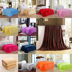 Solid Plush Fleece Blanket For Sofa Bed Soft Lightweight Lar