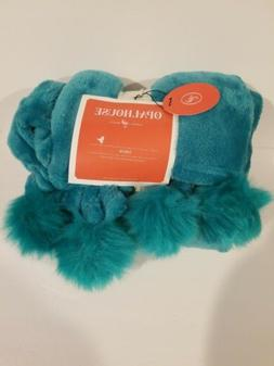 Solid Plush With Faux Fur Poms Throw Blanket - Opalhouse 60