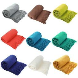 Solid Soft Warm Throw Blanket Cozy Knitted w/ Fringes for Ch
