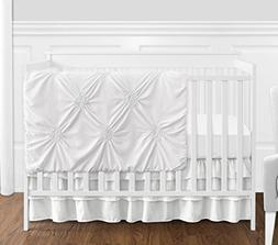 Solid Color White Shabby Chic Harper Baby Girl Crib Bedding