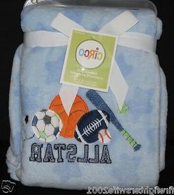 Circo Sports Baby Blanket 30x40 blue football basketball soc