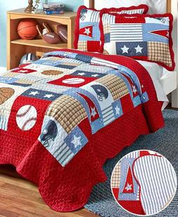 Sports Quilt Set for Boy Room Full/Queen Reversible Baseball