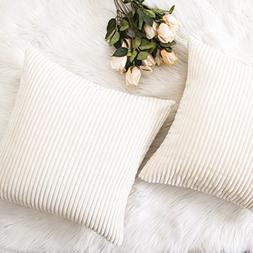 HOME BRILLIANT Decor Striped Corduroy Velvet Cushion Covers