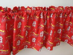 St. Louis Cardinals on Red Baseball Sports Handmade Valance