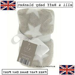 Elli & Raff Star Microplush Blanket Natural Soft Baby Newbor