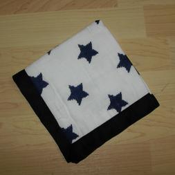 "Bacati Stars Ikat Muslin Security Baby Navy Blue Blanket 15"""