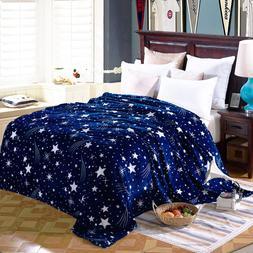 Stars Pattern Plush Flannel Fleece Blanket Navy Blue Baby So