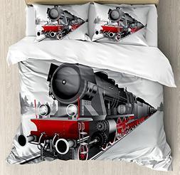 Ambesonne Steam Engine Duvet Cover Set, Locomotive Red Black