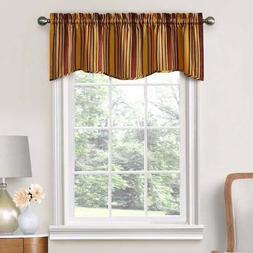 "Stellar Stripe Curtain Window Valance 52"" X 16"" Gold Green B"