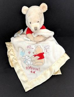 "Disney Store Pooh Bear Lovey Security Blanket 15"" Yellow Emb"