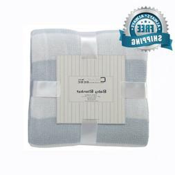 Cream Bebe Striped 100% Cotton Knit Baby Blanket, Blue/White