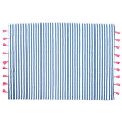 Striped Throw Blanket 100% Cotton With Fringe Beach Picnic L