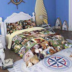 RuiHome 3-Piece Students Dorm Bed Duvet Cover Set 205 Thread