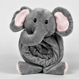 Stuffed Animal Blanket and Plush Elephant Pillow, 2-in-1 Com
