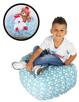 Stuffed Animal Storage Bean Bag Chair - Premium Seat - Easy