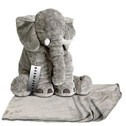 CHICVITA Gray Large Stuffed Elephant Toys Animals Plush Back