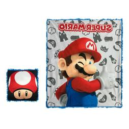 Super Mario Toad Mushroom 2 Piece Throw and Pillow Fur Gift
