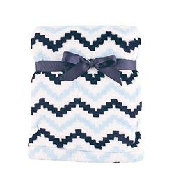 "Hudson Baby Super Plush Blanket, Blue Chevron, 30"" x 40"""