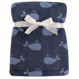 Hudson Baby Super Plush Blanket, Blue Whales, One Size