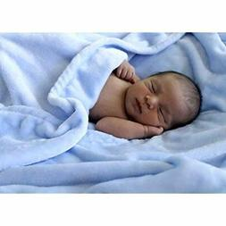 "Luxuriously Soft Baby Blanket - Baby Blue - 30"" x 40"" - Supe"