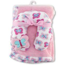 Super Soft Baby Girl BUTTERFLY Baby Blanket w/ Butterfly Nec