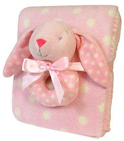 Stephan Baby Super Soft Coral Fleece Polka Dot Crib Blanket