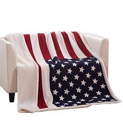USTIDE Super Soft Fleece Blanket The American Flag Sherpa Th