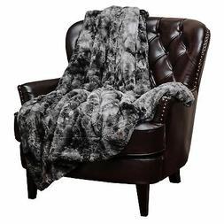 Chanasya Super Soft Fuzzy Fur Warm Charcol Gray Sherpa Throw