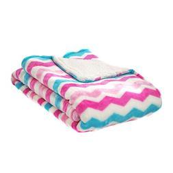 Cozy Fleece Super Soft Micro Mink Chevron Baby Blanket, Pink