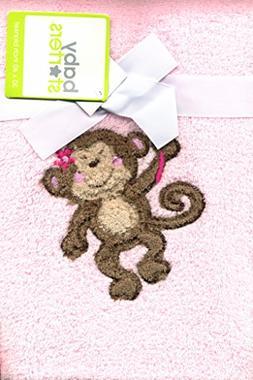 Super Soft Pink Plush Baby Toddler Blanket Velour Monkey App