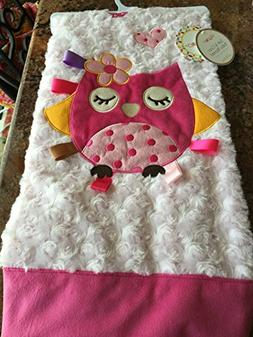 Super Soft Pink Swirl Baby Girl Owl Applice Blanket 30x40 in