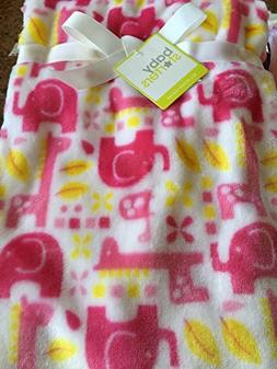 Super Soft Pink and White Elephant and Giraffe Baby Blanket