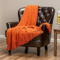 Chanasya Super Soft Textured Knit Throw Blanket with Tassels