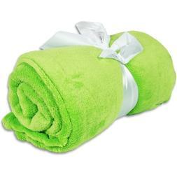 Super Soft Ultra Plush Fleece Blankets - By Threadart - Lime