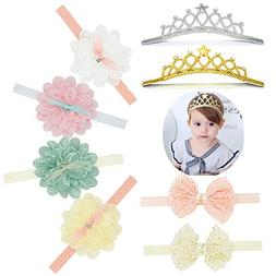 8PCS Baby Girl Super Stretchy Headband Big Lace Petals Flowe