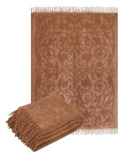 Super Warm Exotic Camel Hair Wool Throw blanket with fringe